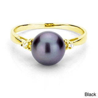 DaVonna 18k Gold over Silver Pearl and 1/10ct TDW Diamond Ring (L-M, I1-I2) (More options available)