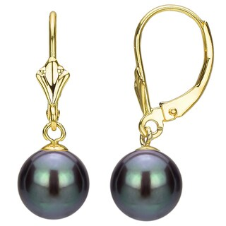 DaVonna 18k Gold over Silver Black Freshwater Pearl Leverback Earrings