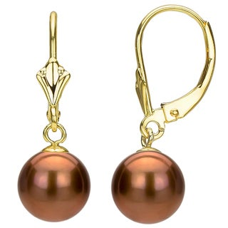 DaVonna 24k Gold over Silver Brown FW Pearl Leverback Earrings (6-10 mm)