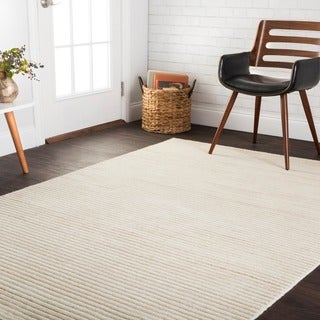 Hand-knotted Franklin Ivory Wool Rug (5' x 7'6)