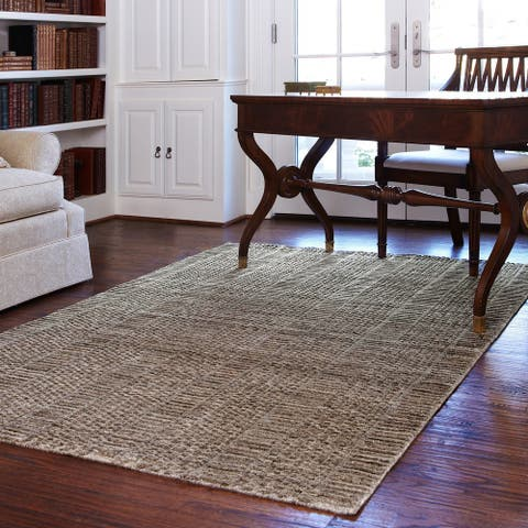 Alexander Home Franklin Hand-knotted Solid Geometric Wool Rug
