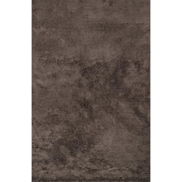 Hand-tufted Dark Brown Microfiber Shag Area Rug - 5' x 7'6
