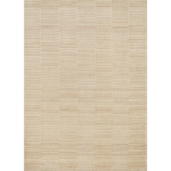 Hand-knotted Franklin Natural Beige Wool Rug - 9'3 x 13'