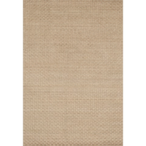 Hand-woven Natural Beige Wool Area Rug - 5' x 7'6
