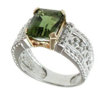 Michael Valitutti 14k Two-tone Gold Green Tourmaline and Diamond Ring