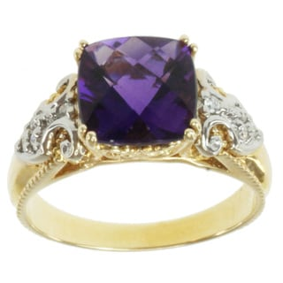 Michael Valitutti 14k Two-tone Gold Amethyst and Round-cut Diamond Ring