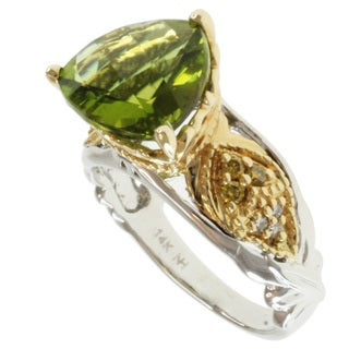 Michael Valitutti 14k Two-tone Gold Peridot and Diamond Ring