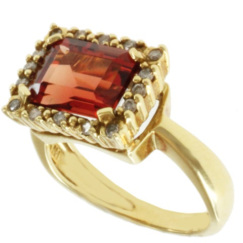 Michael Valitutti 18k Yellow Gold Round Ruby Sunstone and Diamond Ring