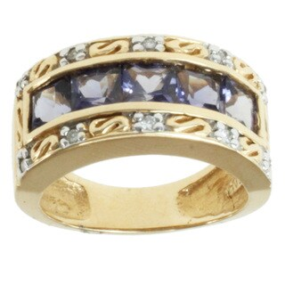 Michael Valitutti 14k Yellow Gold Iolite and Diamond Ring