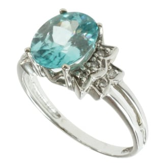 Michael Valitutti 14k White Gold Blue Zircon and Diamond Ring
