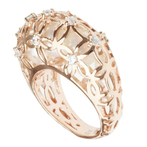 Michael Valitutti Gold over Sterling Silver Freshwater Pearl and Cubic Zirconia Ring (3.5-8 mm)
