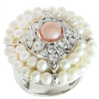 Michael Valitutti Sterling Silver Freshwater Pearl and Cubic Zirconia Ring (3-6.5 mm)