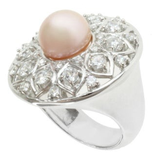 Michael Valitutti Sterling Silver Pink Freshwater Pearl and Cubic Zirconia Ring (10 mm)