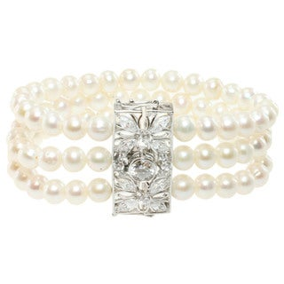 Michael Valitutti Sterling Silver Pearl and Cubic Zirconia Bracelet