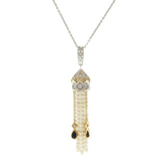 Michael Valitutti Gold over Sterling Silver Freshwater Pearl and Cubic Zirconia Necklace (3-3.5 mm)
