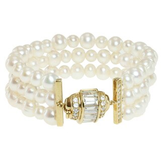 Michael Valitutti Gold over Sterling Silver Freshwater Pearl and Cubic Zirconia Bracelet (6-8 mm)