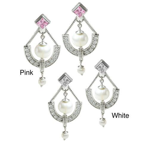 Gems en Vogue Sterling Silver Freshwater Pearl and Cubic Zirconia Earrings (4-6.5 mm)
