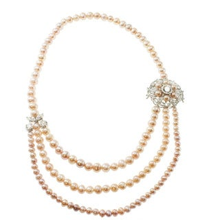 Michael Valitutti Sterling Silver Pink Freshwater Pearl and Cubic Zirconia Necklace (5-8 mm)