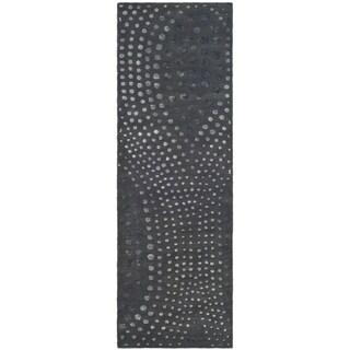 Safavieh Handmade Soho Abstract Wave Dark Grey Wool Runner Rug (2' 6 x 6')