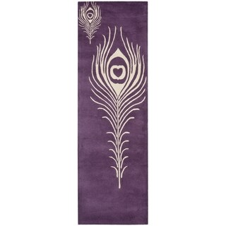 Safavieh Handmade Soho Purple/ Ivory Wool Rug (2'6 x 6')