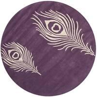 Safavieh Handmade Soho Purple/ Ivory Wool Rug - 4' x 4' Round