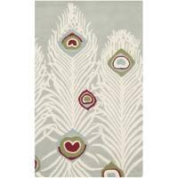 Safavieh Handmade Soho Grey/ Ivory Wool Rug - 2'6' x 4'