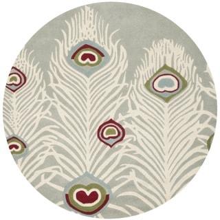 Safavieh Handmade Soho Grey/ Ivory Wool Rug (6' Round)