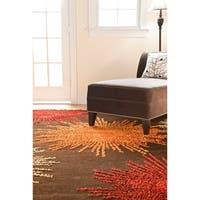 Safavieh Handmade Soho Burst Brown Wool Rug - 11' x 15'