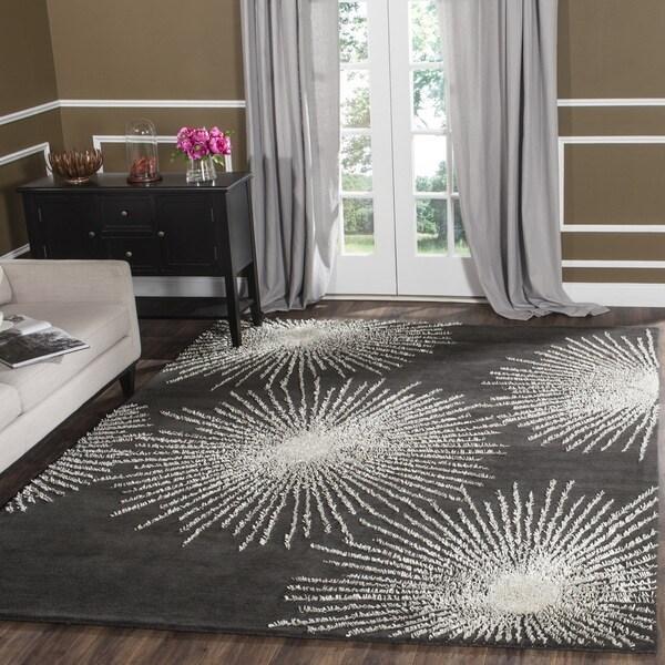 Safavieh Handmade Soho Burst Charcoal/ Ivory Wool Rug (5' x 8')