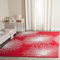"Safavieh Handmade Soho Burst Red/ Ivory Wool Rug - 7'6"" x 9'6"""