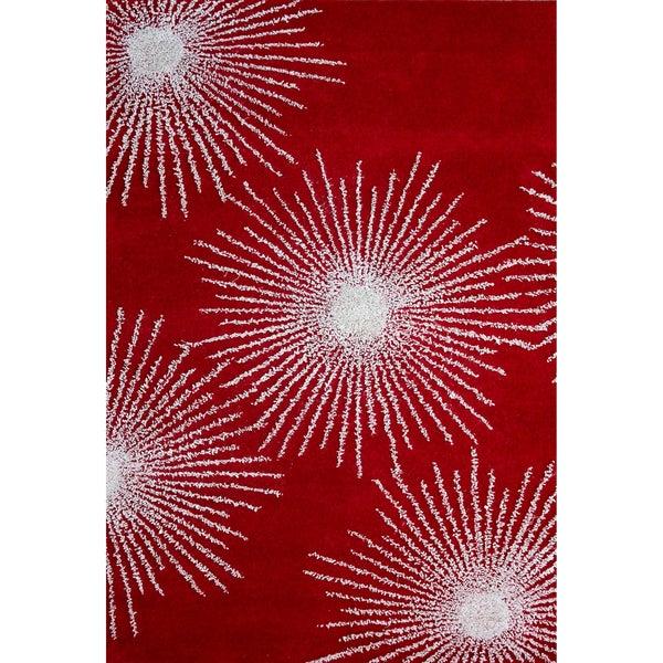 Safavieh Handmade Soho Burst Red/ Ivory Wool Rug - 7'6 x 9'6