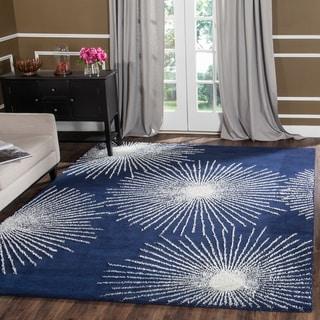 Safavieh Handmade Soho Burst Dark Blue/ Ivory Wool Rug (5' x 8')