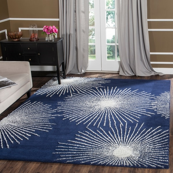 Safavieh Handmade Soho Burst Dark Blue/ Ivory Wool Rug - 8'3 x 11'