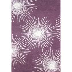 Safavieh Handmade Soho Burst Purple/ Ivory Wool Rug (5' x 8')
