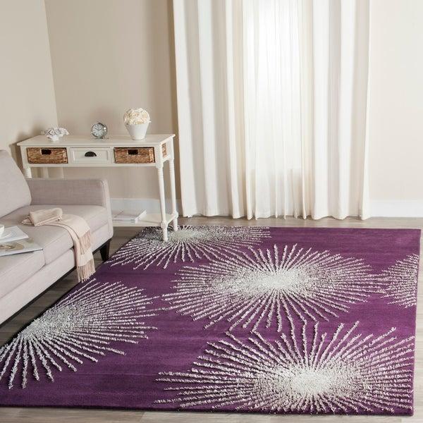 Safavieh Handmade Soho Burst Purple/ Ivory Wool Rug - 7'6 x 9'6