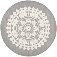 Safavieh Handmade Soho Light Grey/ Ivory Wool Rug - 4' Round