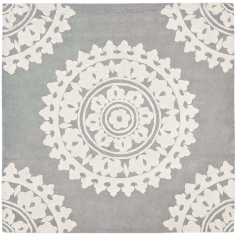 Safavieh Handmade Soho Light Grey/ Ivory Wool Rug - 10' x 10' Square