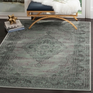 Safavieh Vintage Oriental Light Blue Distressed Silky Viscose Rug (6'7 x 9'2)