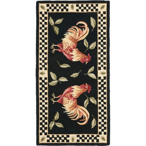 SAFAVIEH Hand-hooked Vintage Poster Ariadni Rooster Wool Rug
