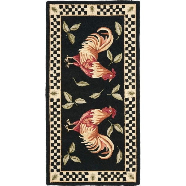 Safavieh Hand-hooked Vintage Poster Ariadni Rooster Wool Rug. Opens flyout.