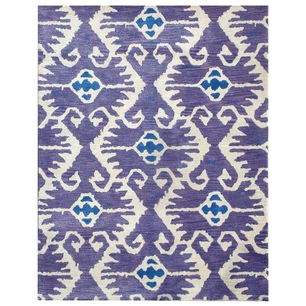 Safavieh Handmade Wyndham Lavender/ Ivory Wool Rug (5' x 8')