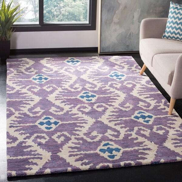 Safavieh Handmade Wyndham Lavender/ Ivory Wool Rug - 5' x 8'