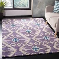 "Safavieh Handmade Wyndham Lavender/ Ivory Wool Rug - 8'-9"" X 12'"