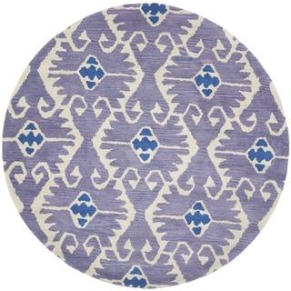 Safavieh Handmade Wyndham Lavender/ Ivory Wool Rug (8'9 Round)