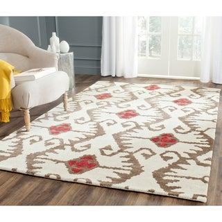 Safavieh Handmade Wyndham Ivory/ Brown Wool Rug (5' x 8')