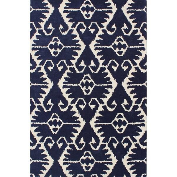 Safavieh Handmade Wyndham Royal Blue/ Ivory Wool Rug - 8'9 x 12'
