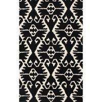 Safavieh Handmade Wyndham Black/ Ivory Wool Rug - 4' x 6'
