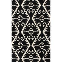 Safavieh Handmade Wyndham Black/ Ivory Wool Rug - 5' x 8'