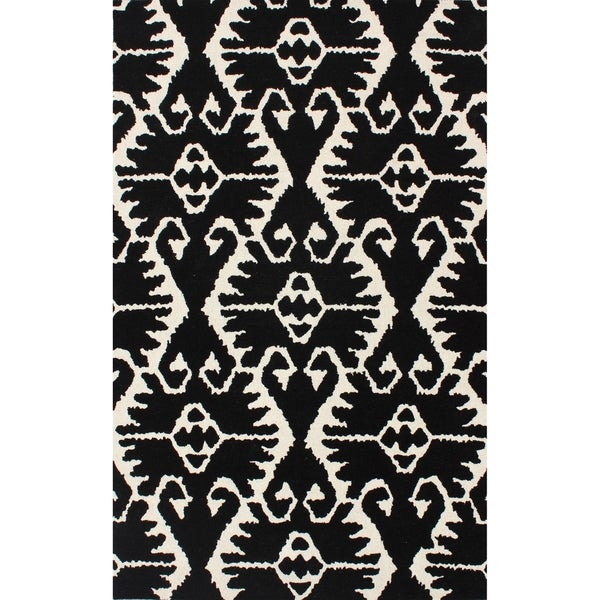 Safavieh Handmade Wyndham Black/ Ivory Wool Rug - 8' x 10'