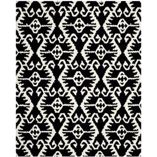 Safavieh Handmade Wyndham Black/ Ivory Wool Rug (8' x 10')